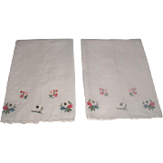 Pair 1950's Linen Hand Embroidered Hand Towels Floral