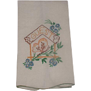 Guest Linen Hand Towel Hand Embroidered 1950's