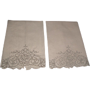 Pair Cut Work & Embroidered Damask Hand Towels 1950's