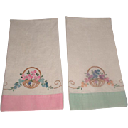 Pair Linen Hand Embroidered Hand Towels 1950's