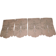 Set of 4 Embroidered Cut Work Furniture Scarves 1940's-50's