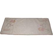 Table Runner Furniture Scarf Embroidered 1940-50's