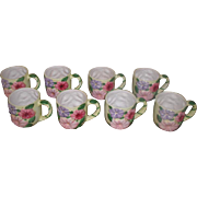 Set Of 8 Mugs Colorful  Vintage Glazed Earthenware Large
