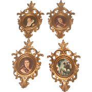 4 Gilt Ornate Frames With 19th  Century Style Prints
