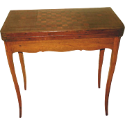 French Game Table C.1850 Inlaid Walnut Fruitwood