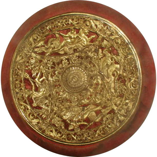 Greek Mythological Plaque Brass Fabric Early 1900's