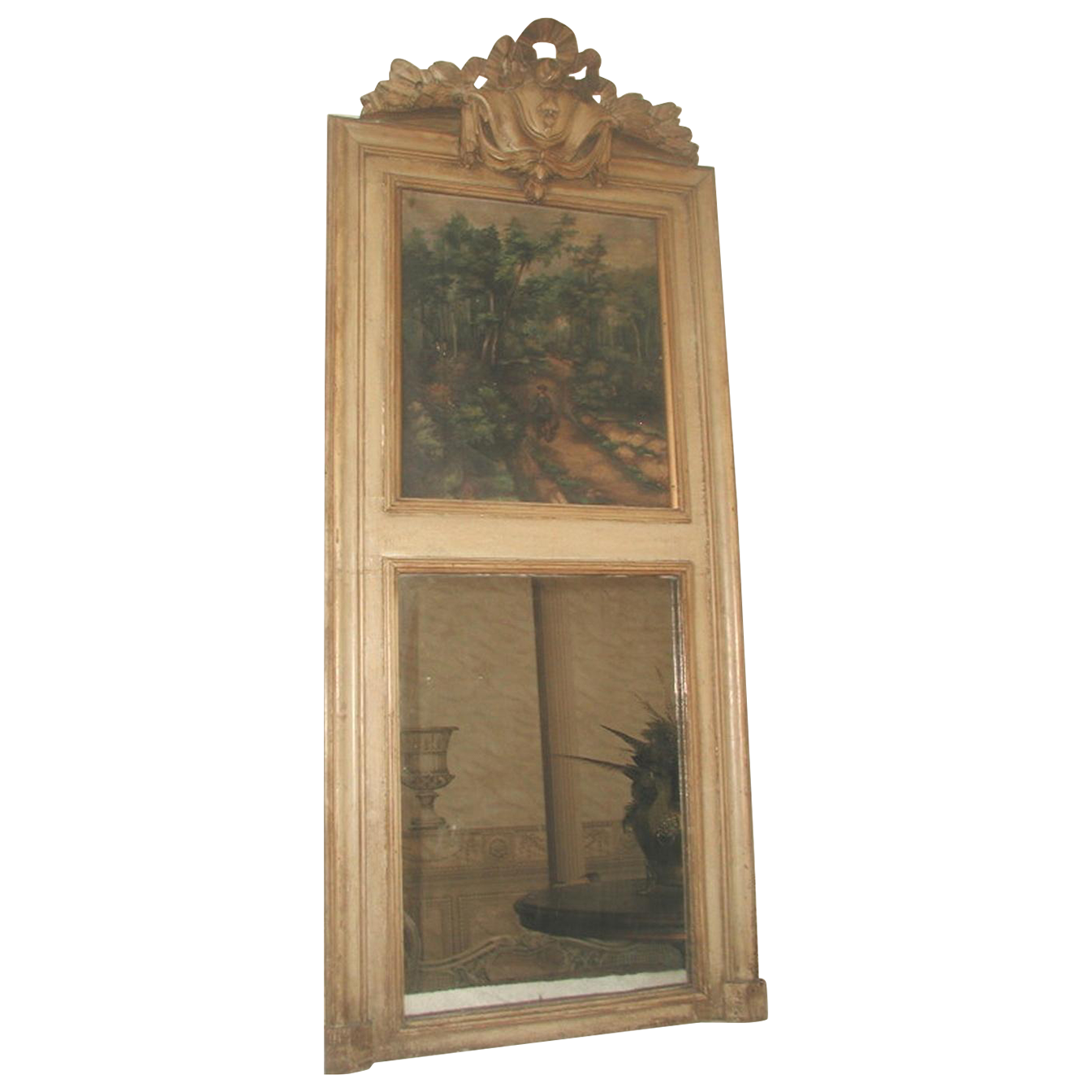 French Trumeau Mirror Canvas Oil Painting Mid 19th Century