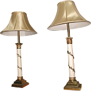 Neoclassical Column Lamps Brass Metal 3 Way Pair