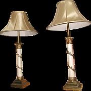 Neoclassical Column Lamps Brass Metal 3 Way Pair
