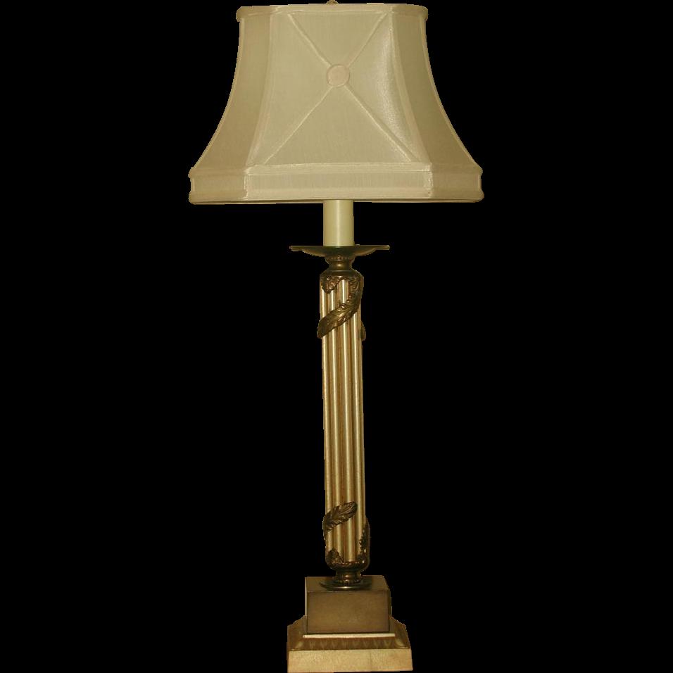 Neoclassical Column Lamp Metal 3 Way