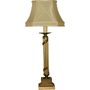 Neoclassical Column Lamp Metal 3 Way 20th C