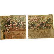 Matching Oil Paintings Unframed Pair On Canvas Early 1900's