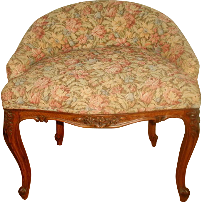 Walnut French Stool 19th Century Floral Brocade
