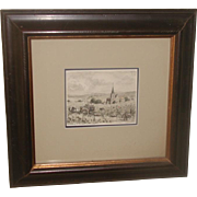 French Framed Watercolor of Grape Harvesting in Chavignol Early 20th C