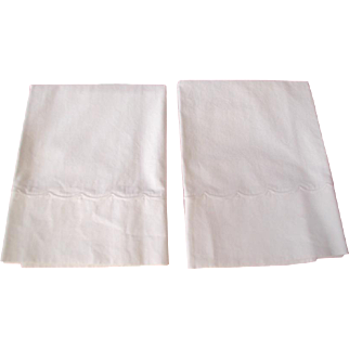 Pair Cotton Percale Embroidered Pillow Cases
