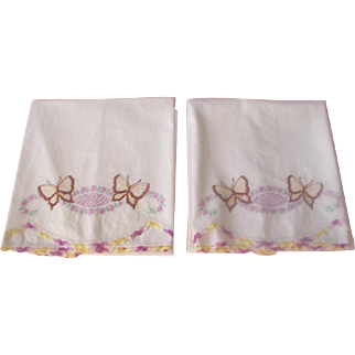 Pair Hand Embroidered Pillow Cases 1940's