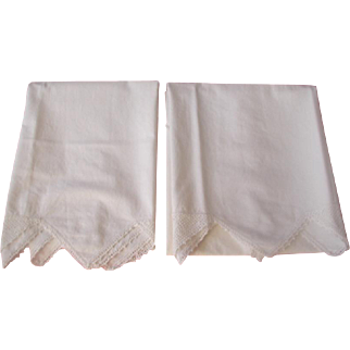 Pair White Cotton Crocheted Edge Pillow Cases 1940's-50's