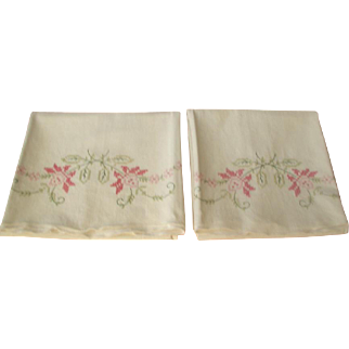 Pair Hand Embroidered Pillow Cases 1950's