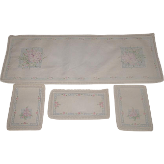 4 Piece Rectangular Furniture Scarf Set Hand Embroidered C.1940's