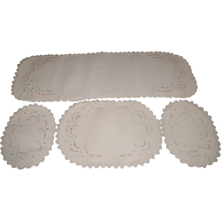 4 Piece Furniture Scarf Set Hand Embroidered C.1950's