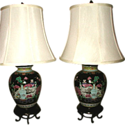 Pair Oriental Lamps Early 1900's Rewired