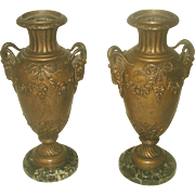 Italian Bronze Urns Pair 19th C With Marble Base
