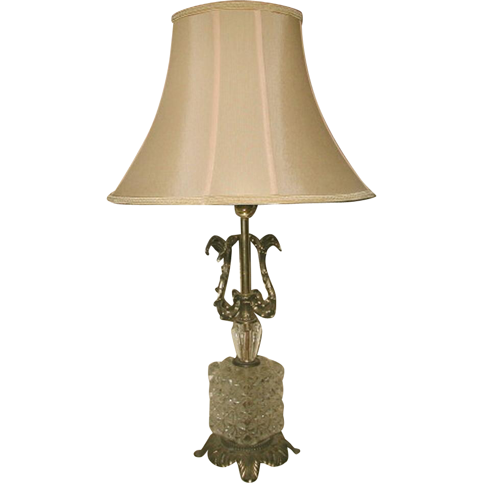 Crystal Brass Lamp Rewired Early 1900's New Silk Shade