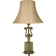 Crystal Brass Lamp New Silk Shade Rewired Early 1900's