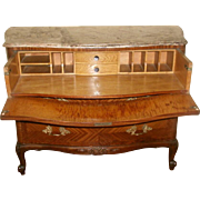 Signed Secretary Chest Rosewood Marble Italy 19th Century