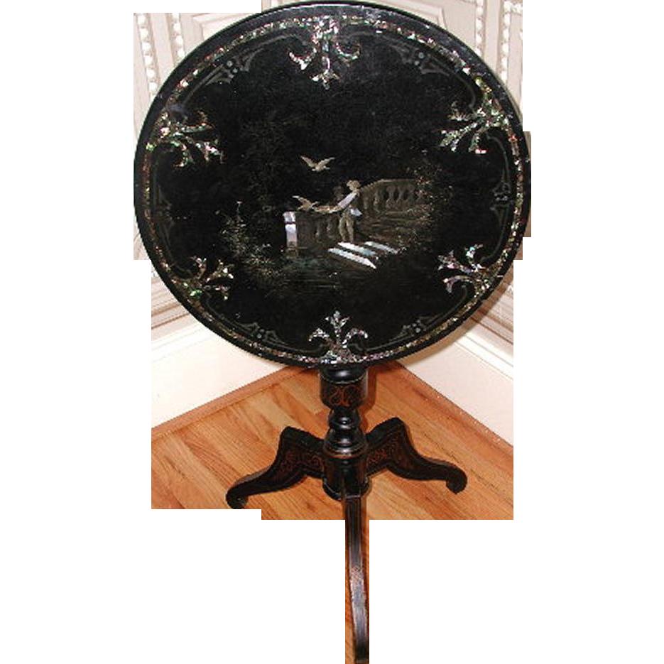 Napoleon III Table Inlaid Flip Top C.1850