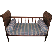 French Settee Crib Walnut Hand Carved 19th Century