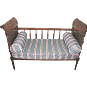 French Baby Crib Love Seat Settee Walnut 19th C Hand Carved