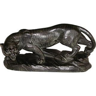 Signed Panther Sculpture EJM Terra Cotta C.1890-1900