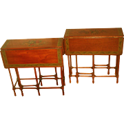 English Side Tables Gate Leg 19th C Hand Painted Designs