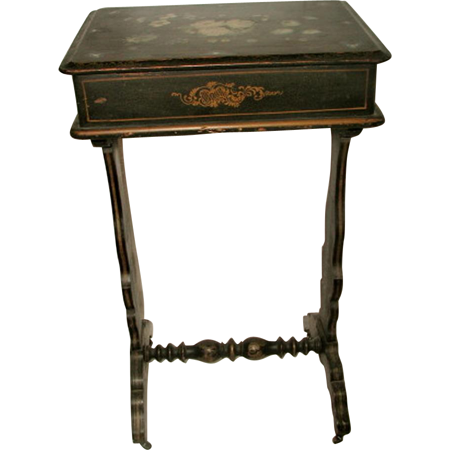 Sewing Table Chest France Hand Painted 18th Century