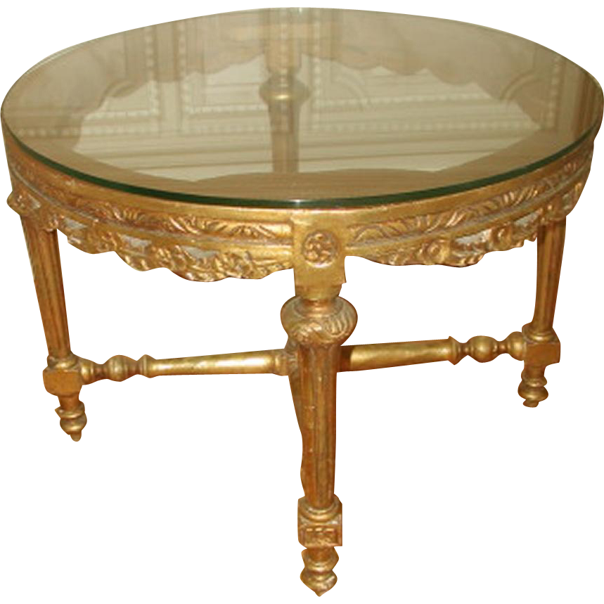 Gilt Coffee Table French 19th Century Hand Carved
