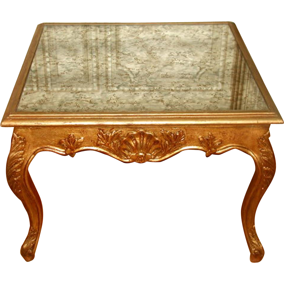Coffee Side Table France 19th C Gilt Mirrored Top