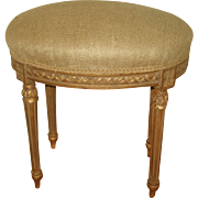 French Vanity Stool Gilt New Linen Upholstery