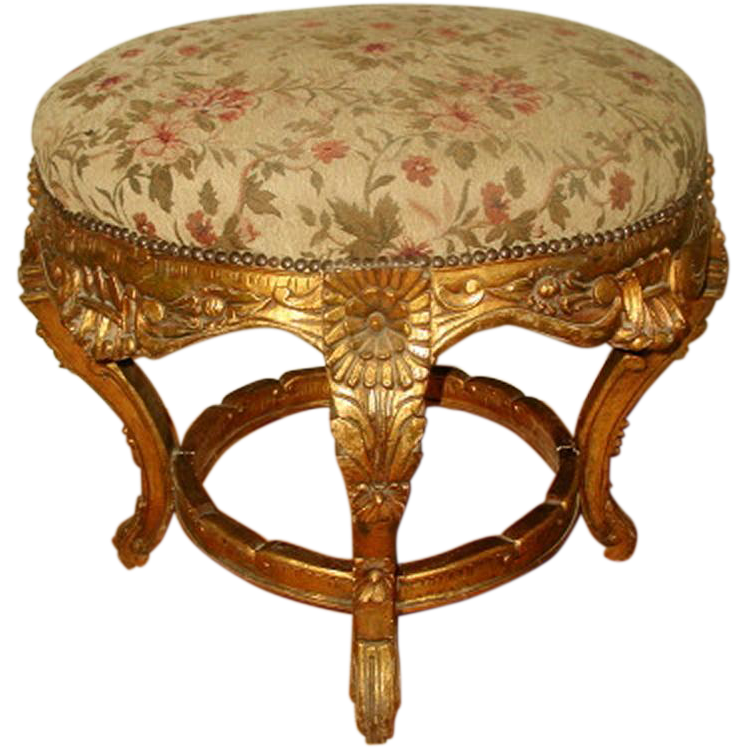Large Gilt Stool Original Mohair Upholstery 19th Century France