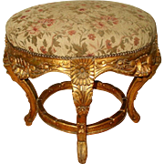 French Stool Gilt Original Mohair 19th Century Large