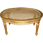 Gilt French Footstool Caned C.1890-1905