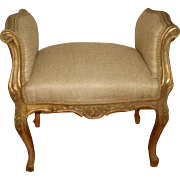French Gilt Bench New Upholstery 19th Century