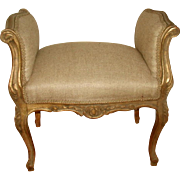 French Gilt Bench 19th  New Upholstery