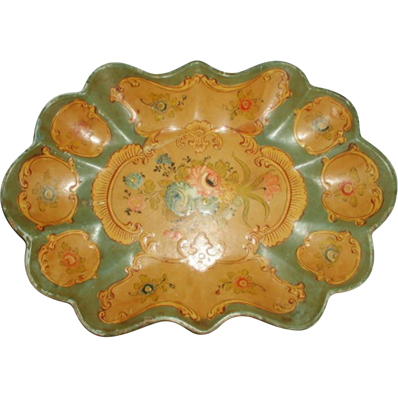 Bowl Tray Papier Mache Hand Painted Early 1900's
