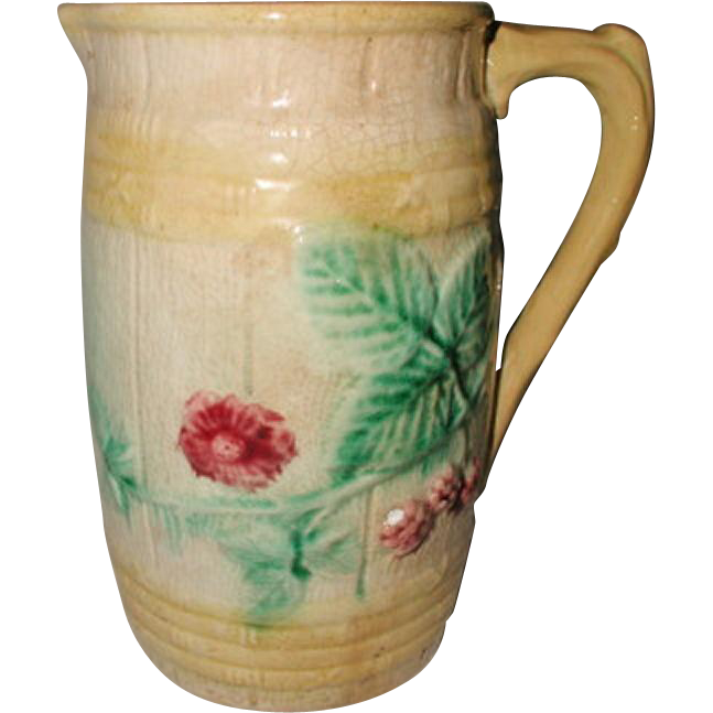 English Majolica Pitcher 19th C Floral Berry