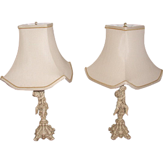 Metal Cherub Lamps Rewired Custom Shades Early 1900's