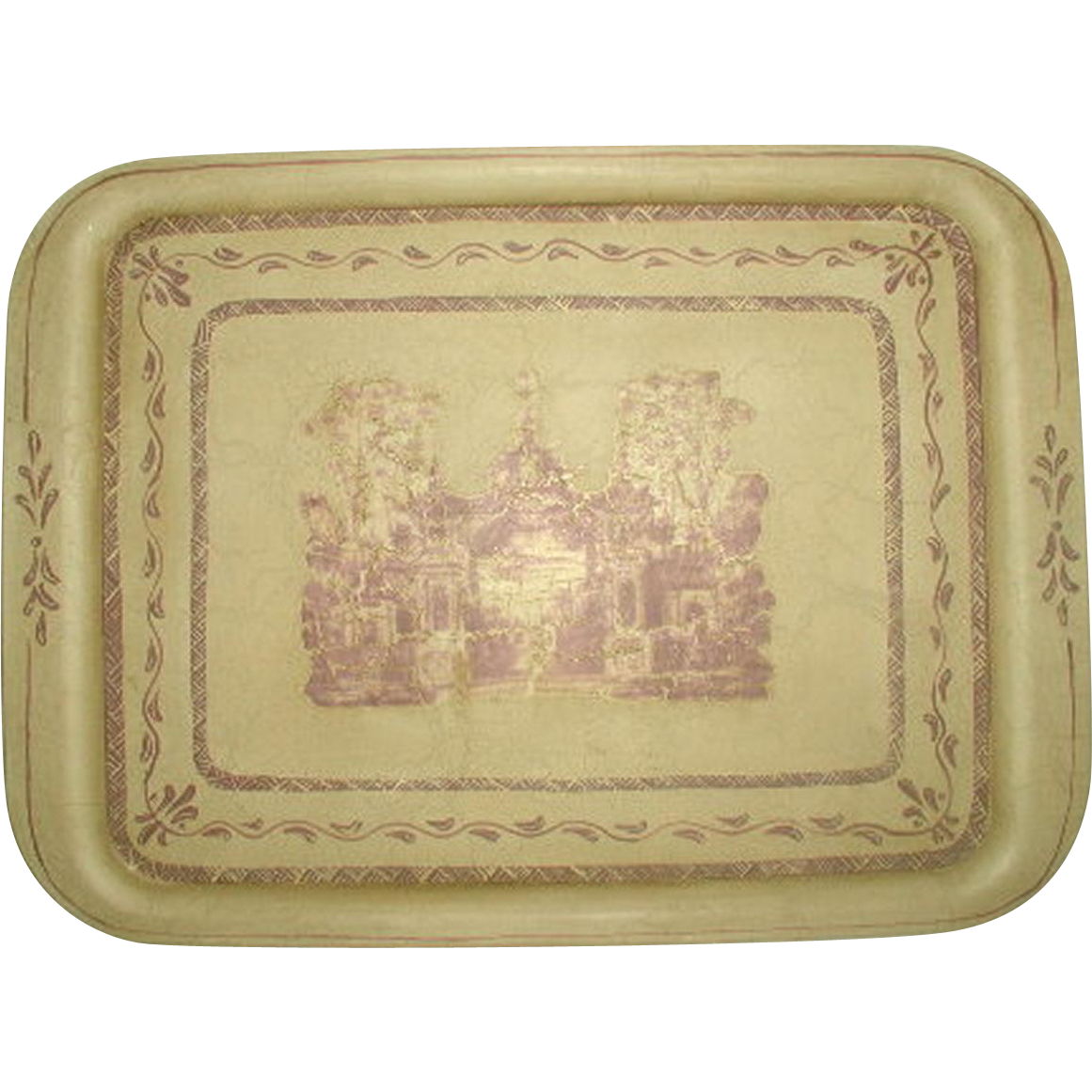 Signed French Tray Trompe L'oiel Scene Hand Painted
