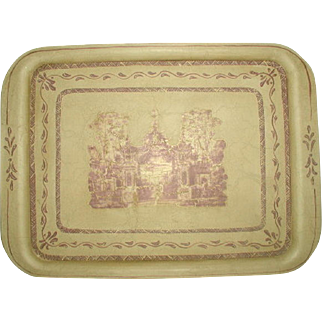 French Tray Trompe L'oiel Scene Hand Painted Signed