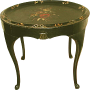 English Tole Tray Table 18th Century Carved Hand Painted