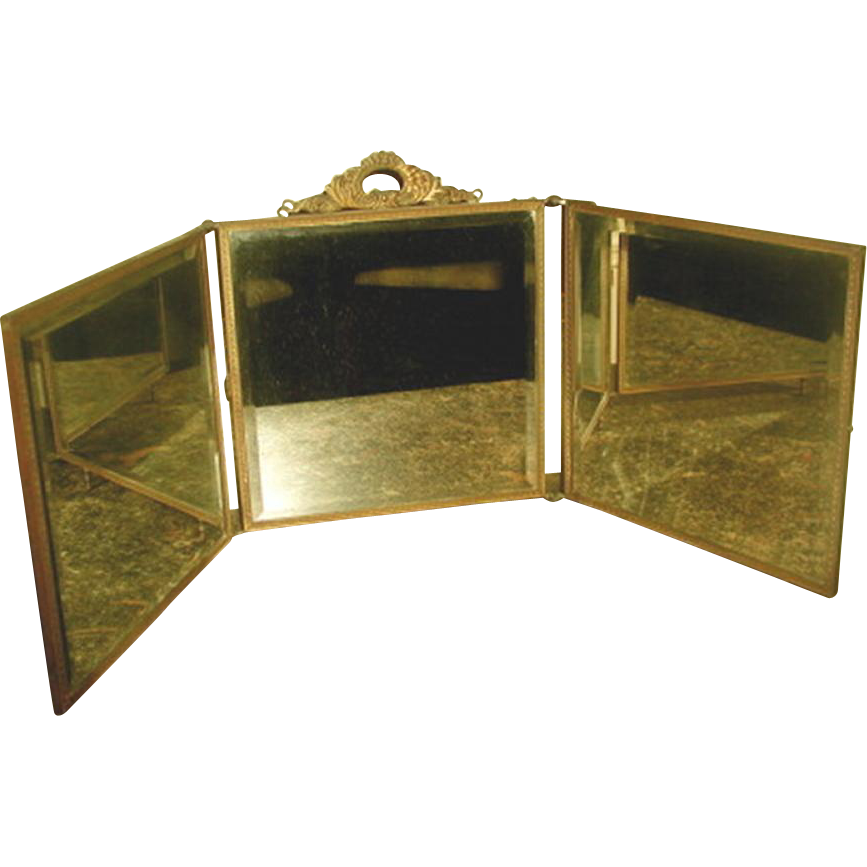 Vanity mirror tri fold france 19th century from for Tri fold mirror